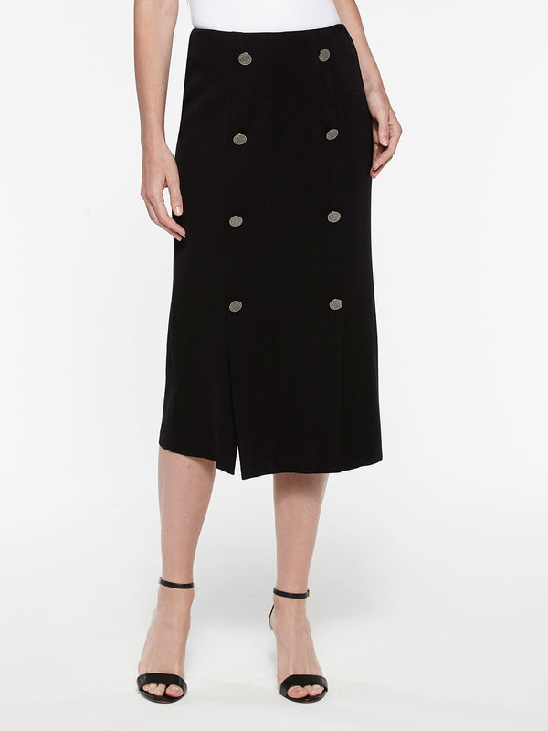 Button Trim Skirt Color Black