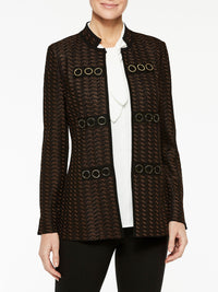 Gold Grommet Detail Jacket Color Hickory Brown/Black