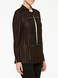 Plus Size Gold Grommet Detail Jacket Color Hickory Brown/Black