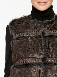 Faux Fur Vest Color Hickory Brown/Mink Grey/Black Premium Details