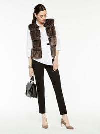 Faux Fur Vest Color Hickory Brown/Mink Grey/Black