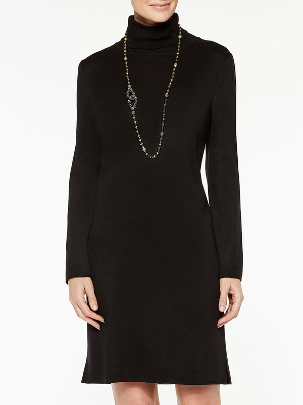 Wool Blend Knit Turtleneck Sheath Dress Color Black