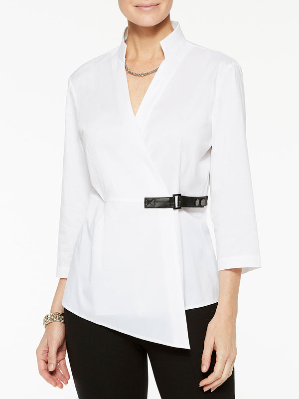 Stretch Cotton Wrap Blouse Color White