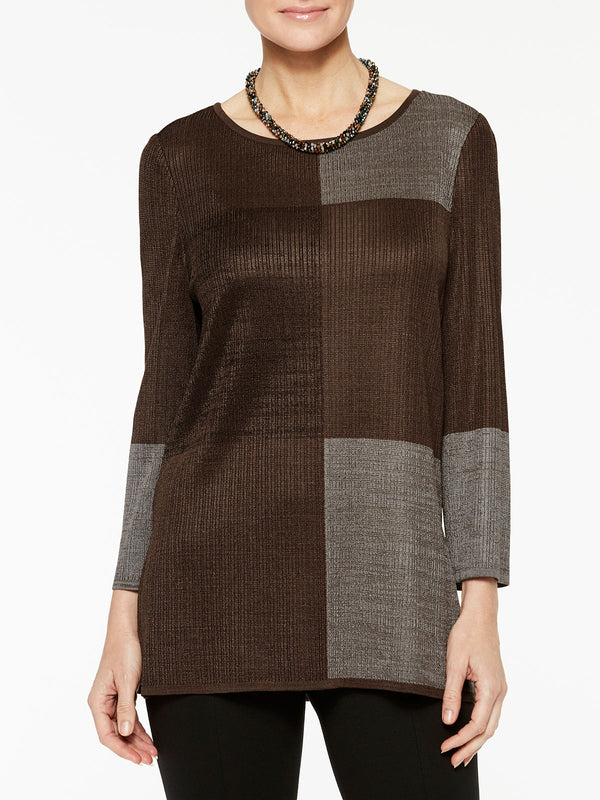 Color Block Tunic Color Hickory Brown/Black/Mink Grey