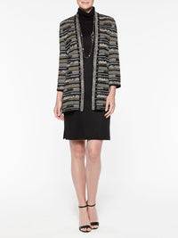 Striped Digital Pattern Knit Jacket Color Gold/Black/Silver