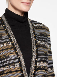 Striped Digital Pattern Knit Jacket Color Gold/Black/Silver Premium Details
