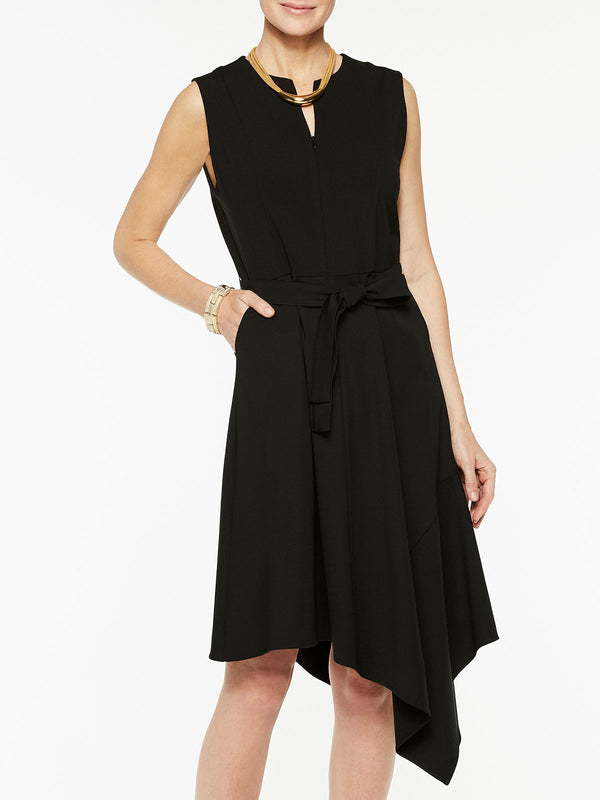 Asymmetrical Ponte Flare Dress Color Black