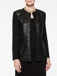 Leather Sequin Jacket Color Black