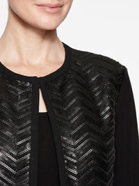 Leather Sequin Jacket Color Black Premium Details