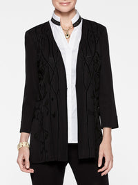 Plus Size Knit and Velvet Accent Jacket Color Black