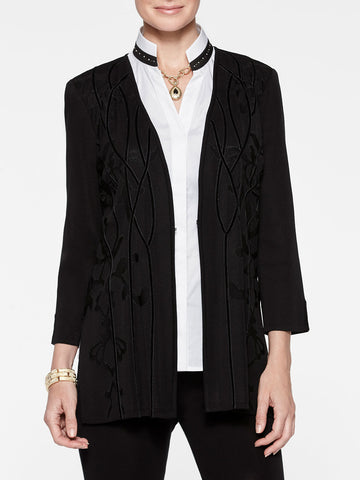 Plus Size Knit and Velvet Accent Jacket