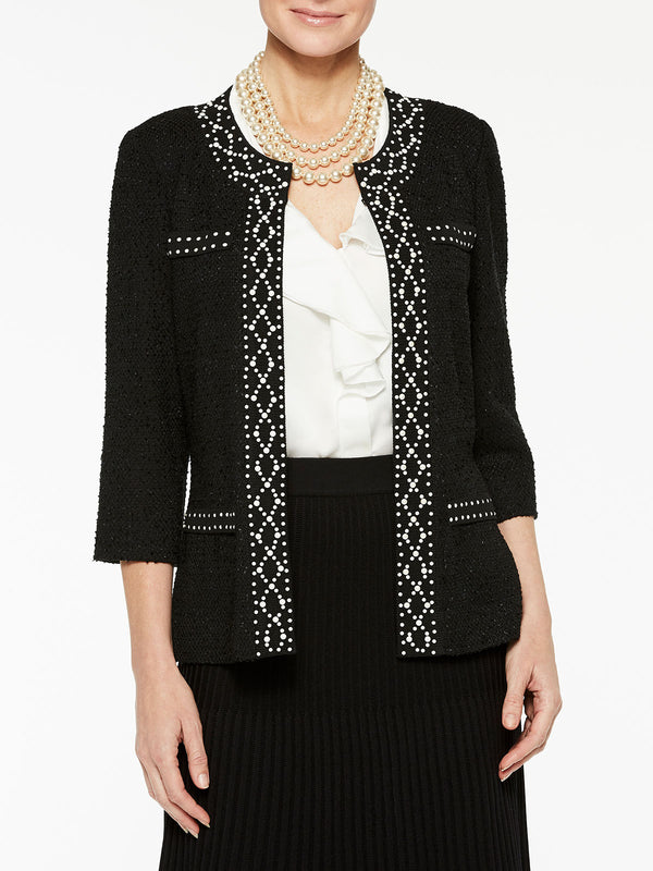 Pearl Stud Trim Jacket Color Black