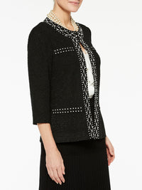 Plus Size Pearl Stud Trim Jacket Color Black