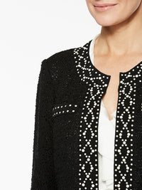 Plus Size Pearl Stud Trim Jacket Color Black Premium Details