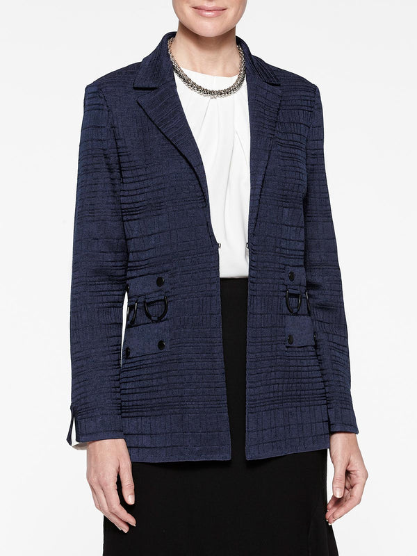 Ring Detail Knit Blazer Color Indigo