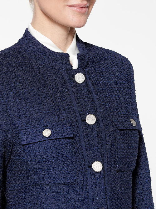 Plus Size Double Pocket Tweed Knit Jacket Color Indigo Premium Details