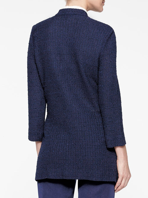 Plus Size Double Pocket Tweed Knit Jacket Color Indigo