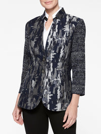 Urban Print Mixed Media Jacket Color Indigo/Slate