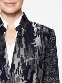 Urban Print Mixed Media Jacket Color Indigo/Slate Premium Details