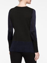 Colorblock Sheer Sleeve Knit Tunic Color Indigo/Black Premium Details