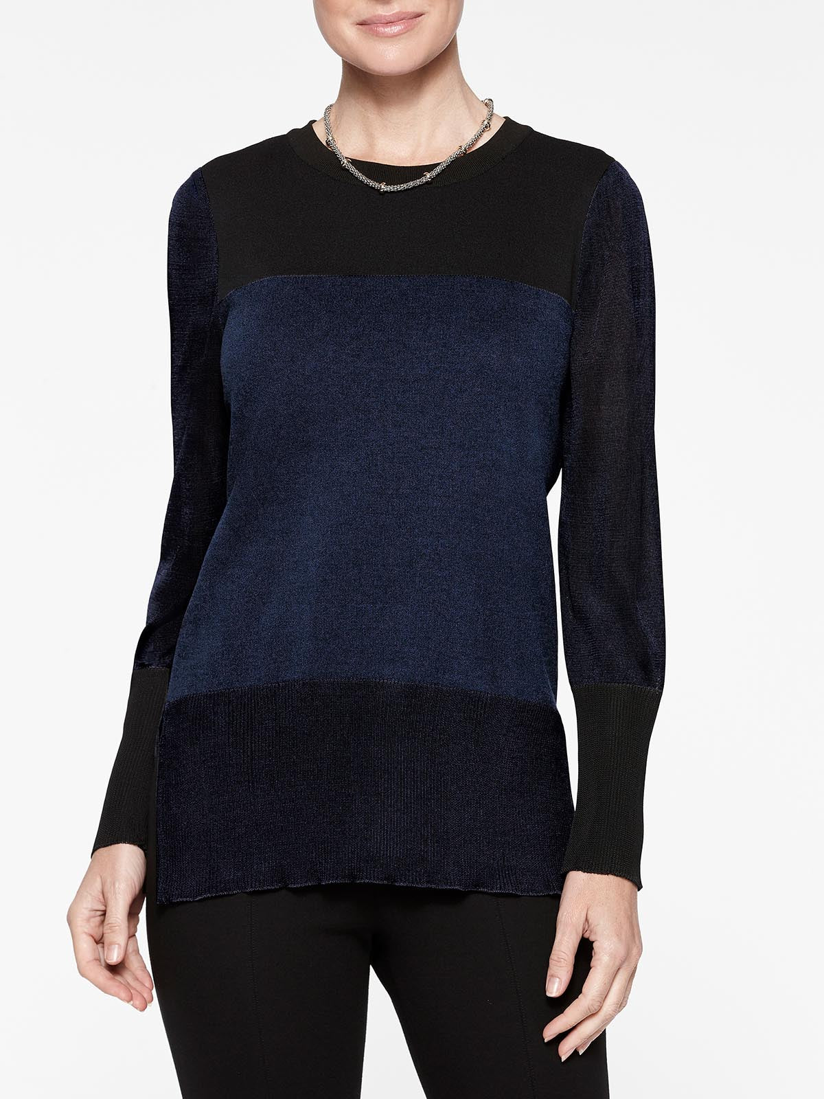 Colorblock Sheer Sleeve Knit Tunic Color Indigo/Black