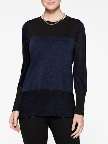 Colorblock Sheer Sleeve Knit Tunic