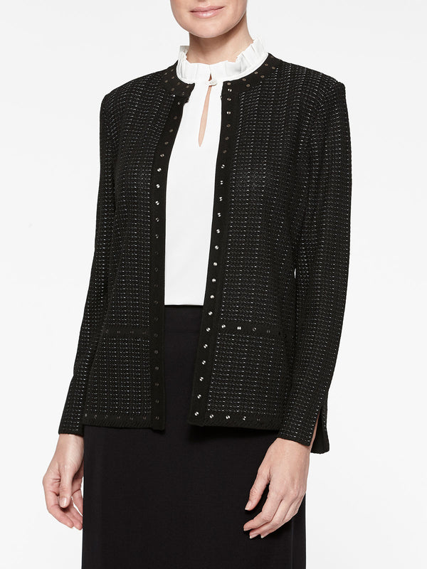Plus Size Stud Trim Textured Knit Jacket