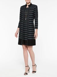 Digital Pattern Ribbed Knit Sheath Dress Color Black/Arctic