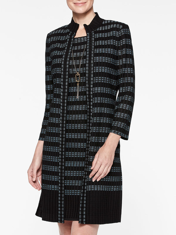 Digital Pattern Ribbed Knit Duster Color Black/Arctic
