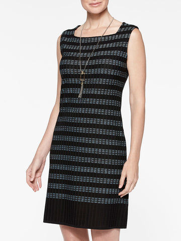 Digital Pattern Ribbed Knit Sheath Dress