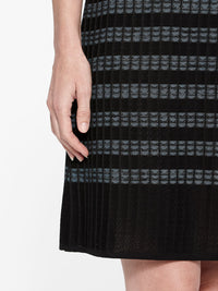Digital Pattern Ribbed Knit Sheath Dress Color Black/Arctic Premium Details