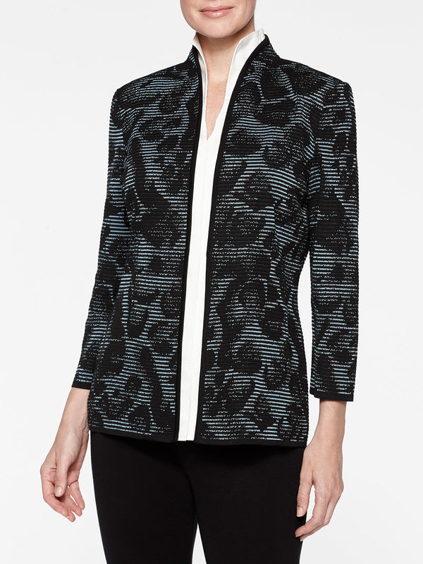 Plus Size Animal Print Ottoman Knit Jacket