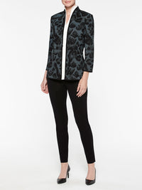 Animal Print Ottoman Knit Jacket Color Arctic/Black