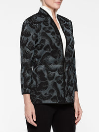 Plus Size Animal Print Ottoman Knit Jacket Color Arctic/Black