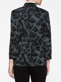 Animal Print Ottoman Knit Jacket Color Arctic/Black Premium Details