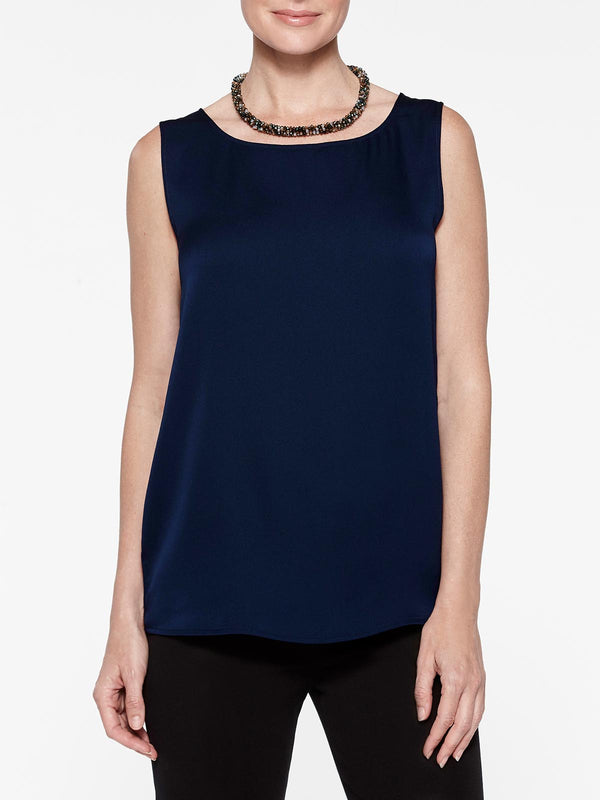 Satin Crepe de Chine Tank Top, Indigo Color Indigo
