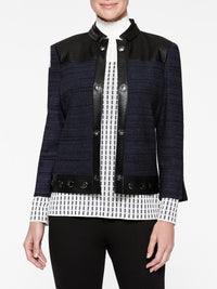 Faux Leather and Tweed Knit Jacket Color Indigo/Black