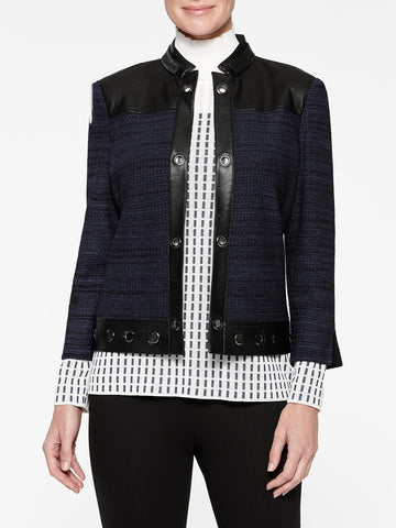 Faux Leather and Tweed Knit Jacket