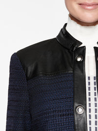 Faux Leather and Tweed Knit Jacket Color Indigo/Black Premium Details