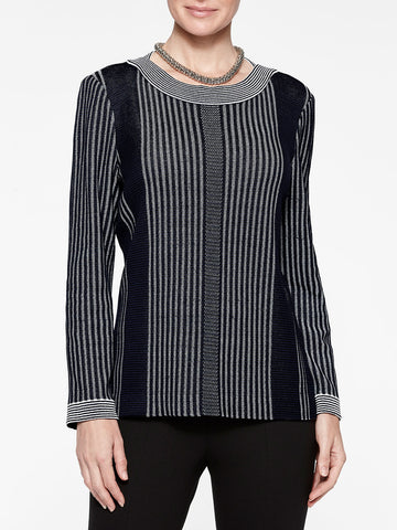 Multi Stripe Long Sleeve Knit Tunic