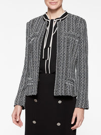 Eyelash Fringe Jacquard Knit Jacket Color Indigo/Black/Ivory/Macchiato