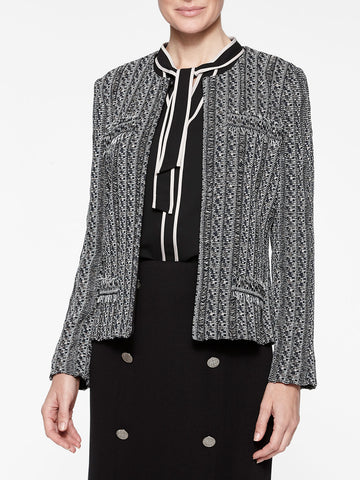 Eyelash Fringe Jacquard Knit Jacket