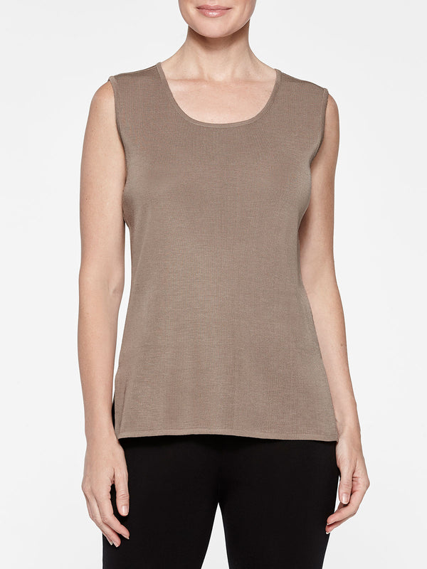 Plus Size Classic Knit Tank Top Color Macchiato Brown