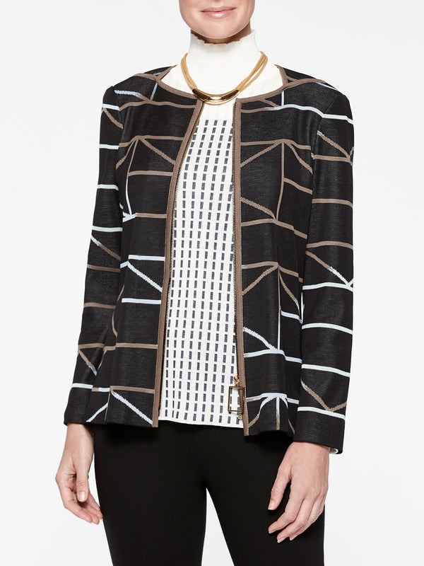 Zip-Up Geo Pattern Knit Jacket