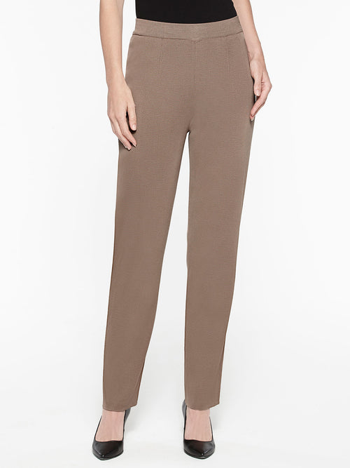 Plus Size Straight Leg Knit Pant Color Macchiato Brown