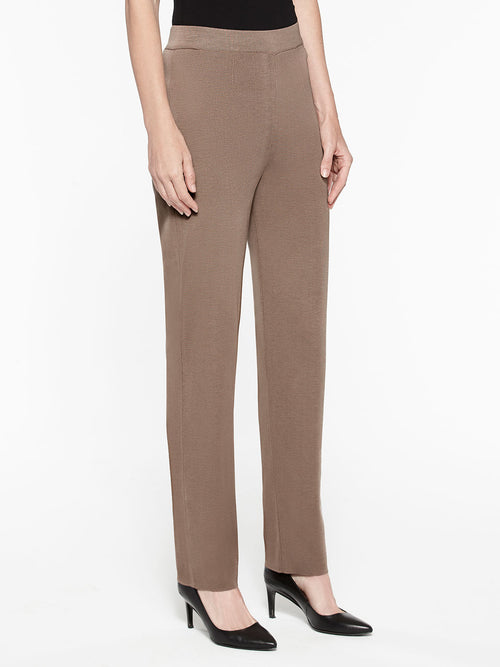 Plus Size Straight Leg Knit Pant Color Macchiato Brown Premium Details