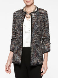 Ribbon Fringe Tweed Knit Jacket Color Indigo/Macchiato/Black/Ivory