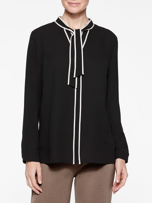 Contrast Tie-Neck Crepe de Chine Blouse Color Black/Macchiato