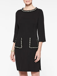 Pearl Ribbon Detail Knit Sheath Dress