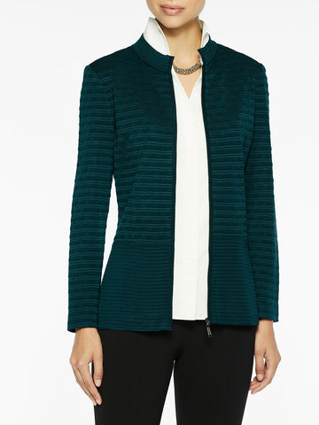 Mandarin Zip-Up Knit Jacket